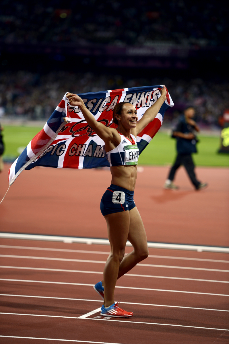 Jessica Ennis of Great Britain after winning the gold medal in the Heptathlon during the London Olympics.