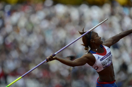 Antoinette Nana Djimou Ida of France throwing the javelin during the Heptathlon competition at the London Olympics.
