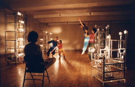 Trisha Brown rehearsing multimedia piece, Soho, New York