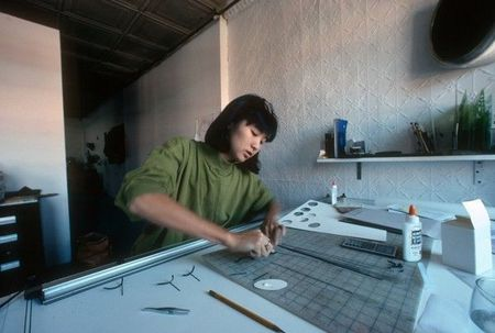 Maya Lin working on a scale model at her studio in Manhattan