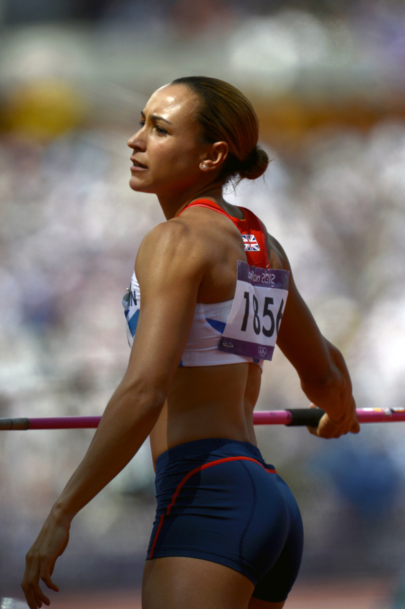 Jessica Ennis of Great Britain preparing to throw the javelin on her way to winning the gold medal in the Heptathlon during the London Olympics.