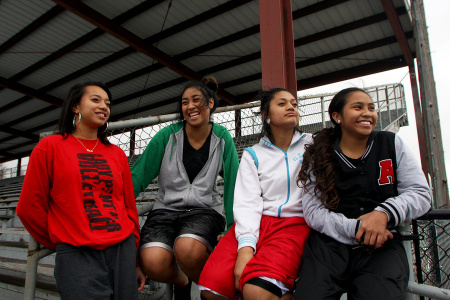 Teenage girls of Tongan descent at a local rugby stadium in Salt Lake City. One in every four Tongans living in the United States resides in Utah and the state ranks