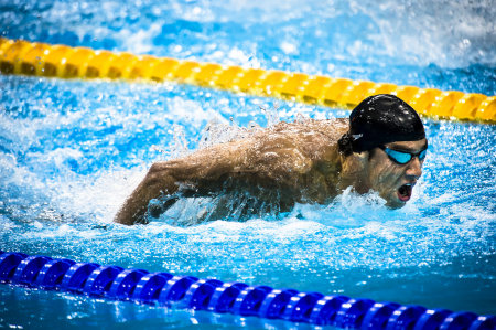 Michael Phelps in the  Men's 200 Meter Butterfly Semi-Final.