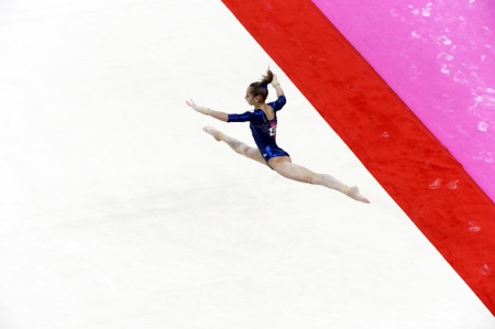Victoria Komova of Russia performs her floor exercise during the Women's All Around Gymnastics competition,  in which she won the silver medal.