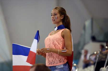 French swimming fan at the Aquatic Centre.