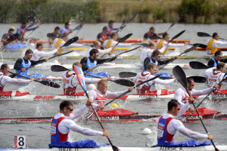 Men's Kayak 4 (K4) 1000 Meter Sprint at Eton Dorney during the London Olympics.