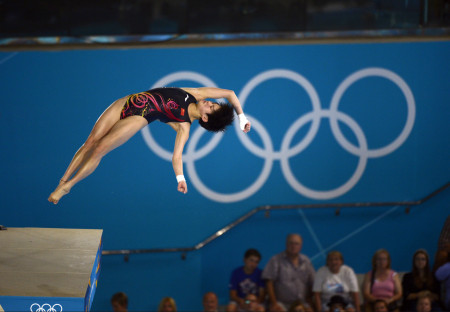 China's Chen Ruolin on her way to winning the gold medal in the women's 10 Meter Platform competition.