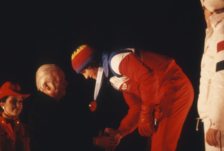 Eric Heiden being awarded one of his five gold medals at the 1980 Lake Placid Olympics